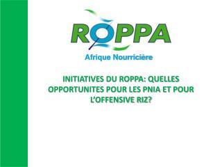 INITIATIVES DU ROPPA: QUELLES OPPORTUNITES POUR LES PNIA ET POUR L'OFFENSIVE RIZ?