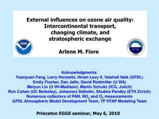 External influences  on  ozone air  quality:  Intercontinental transport, changing climate, and