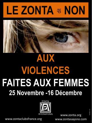AUX VIOLENCES  FAITES  AUX FEMMES 25  Novembre -16 Décembre