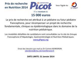 Prix de recherche en Nutrition 2014
