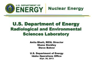 U.S. Department of Energy Radiological and Environmental  Sciences Laboratory