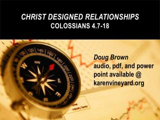 Christ  Designed  Relationships Colossians 4.7-18