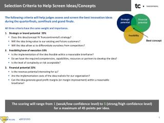 Selection  Criteria to  Help Screen Ideas/Concepts