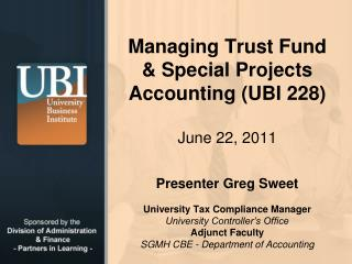 Managing Trust Fund & Special  Projects Accounting (UBI 228)