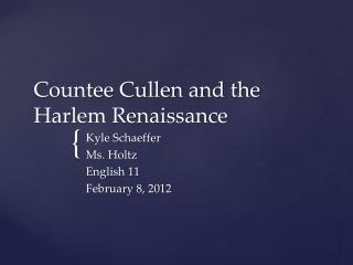 Countee  Cullen and the Harlem Renaissance