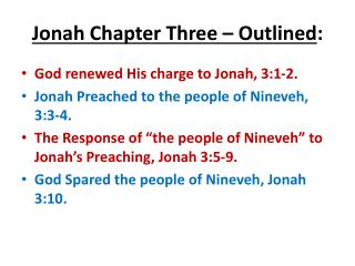 Jonah Chapter Three – Outlined :
