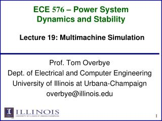 ECE  576 – Power System Dynamics and Stability