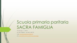 Scuola primaria paritaria SACRA FAMIGLIA