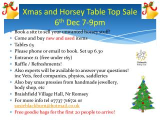 Xmas and Horsey Table Top Sale 6 th  Dec 7-9pm
