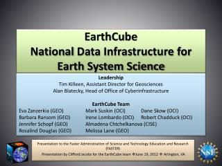 EarthCube  National  Data Infrastructure for Earth System Science