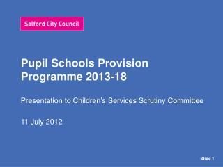 Pupil Schools Provision Programme 2013-18