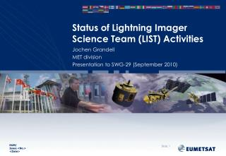 Status of Lightning Imager Science Team (LIST) Activities