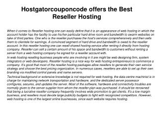 Hostgatorcouponcode offers the Best Reseller Hosting