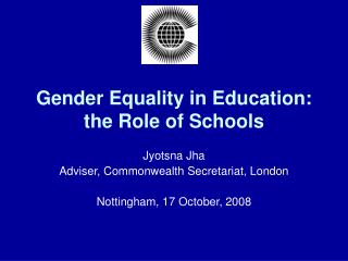 Gender Equality in Education: the Role of Schools