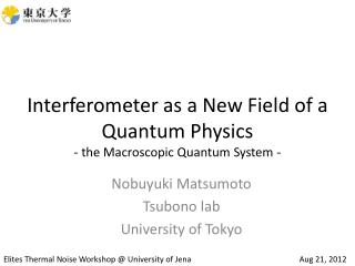 Interferometer as a New  F ield of a Quantum  P hysics - the Macroscopic Quantum System -