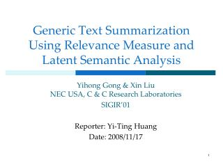 Generic Text Summarization Using Relevance Measure and Latent Semantic Analysis