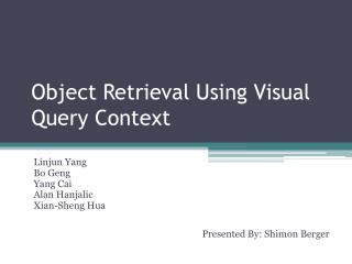 Object Retrieval Using Visual Query Context