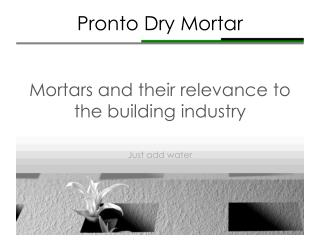 Pronto Dry Mortar