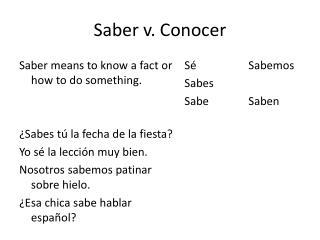 Saber v.  Conocer