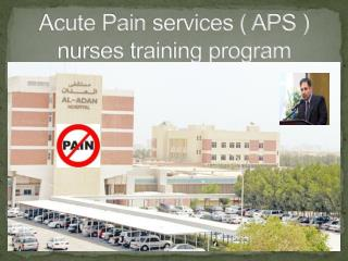 Acute Pain  services ( APS )  nurses training program