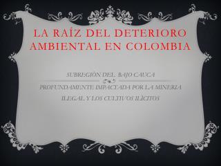 La ra�z  deL DEteriorO  ambiental EN COLOMBIA