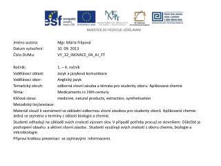 Jméno autora: Mgr. Mária Filipová Datum vytvoření:10. 09. 2013