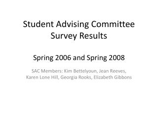 Student Advising Committee Survey Results Spring 2006 and Spring 2008