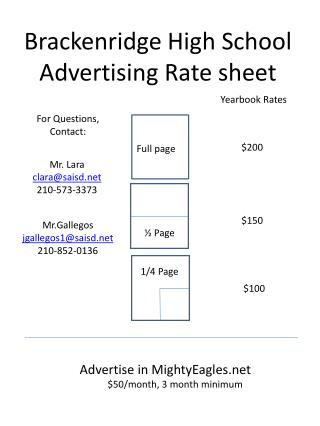 Brackenridge  High School Advertising Rate  sheet
