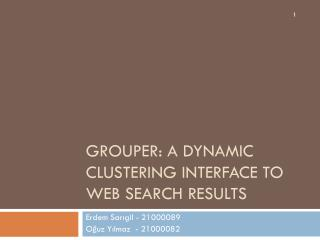 Grouper: A Dynamic CLUSTERIN G  INTERFACE to WEB SEARCH RESULTS