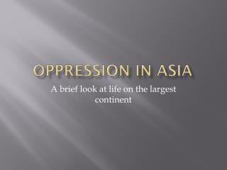 Oppression in Asia