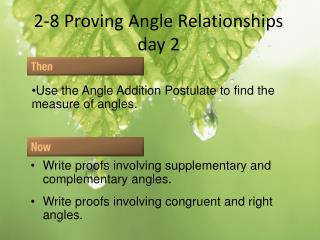 2-8 Proving Angle  Relationships day 2