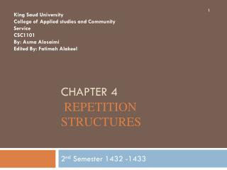 Chapter 4  Repetition Structures