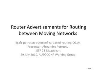 Router Advertisements for Routing between Moving Networks