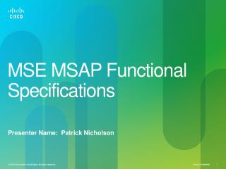 MSE  MSAP  Functional Specifications