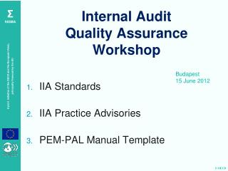 Internal Audit  Quality Assurance  Workshop