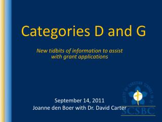 Categories D and G