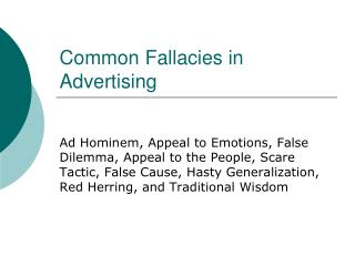 Common Fallacies in Advertising