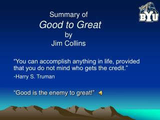 Summary of Good to Great by Jim Collins