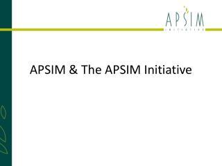 APSIM & The APSIM Initiative