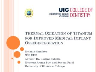 Thermal Oxidation of Titanium for Improved Medical Implant  Osseointegration
