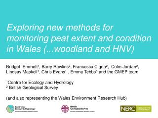 Exploring new methods for monitoring peat extent and condition in  Wales (...woodland and HNV)
