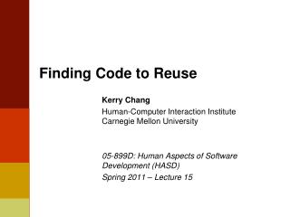 Finding Code to Reuse