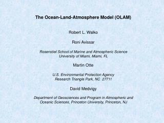 The Ocean-Land-Atmosphere Model (OLAM) Robert L. Walko Roni Avissar