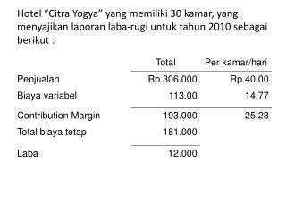 Pertanyaan : Pada tingkat penjualan  (rupiah)  berapakah  hotel  akan mencapai kondisi impas ?