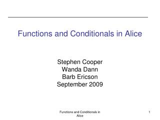 Functions and Conditionals in Alice