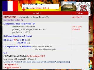 français 5H/AP   le  3-4 octobre  2012