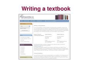 Writing a textbook