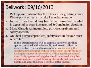 Bellwork: 09/16/2013