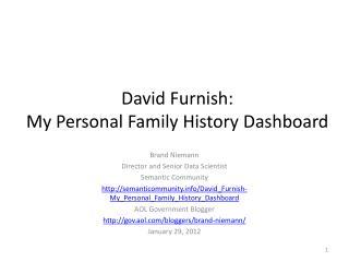 David  Furnish : My  Personal Family History  Dashboard