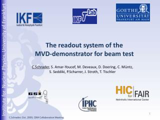 The readout system of the  MVD-demonstrator for beam test